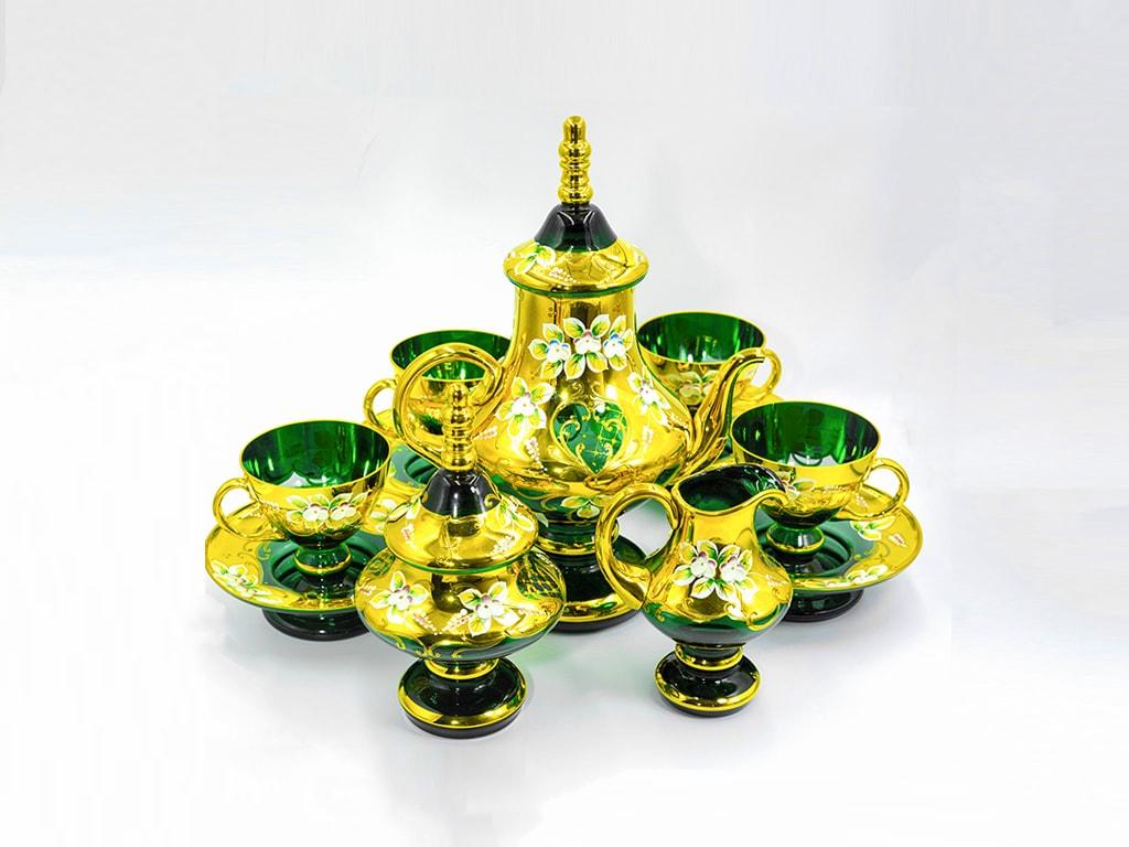 Bộ bình trà pha lê Aladin màu xanh mạ vàng 24K