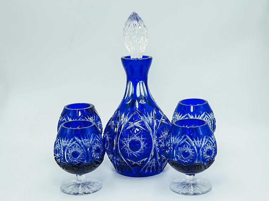 Bộ rượu pha lê 2 da xanh biển - D255M