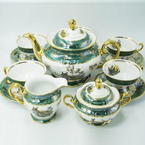 Bộ trà sứ con thú mạ vàng màu xanh - T27