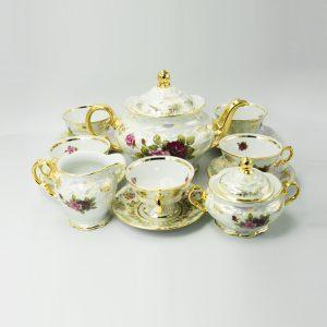 Bộ trà sứ con thú mạ vàng màu xanh - T175