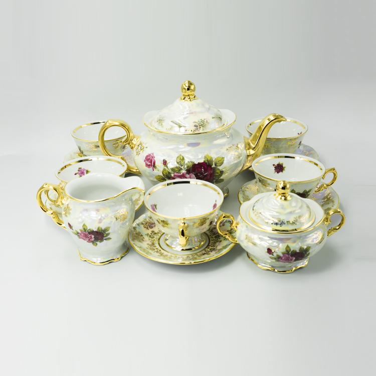 Bộ trà hoa hồng mạ vàng 24k - T175