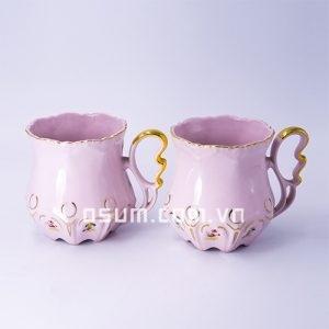 Cốc đôi sứ hồng - BT03