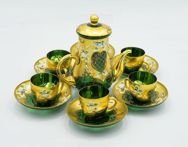 Bộ ấm trà pha lê T150X khảm vàng