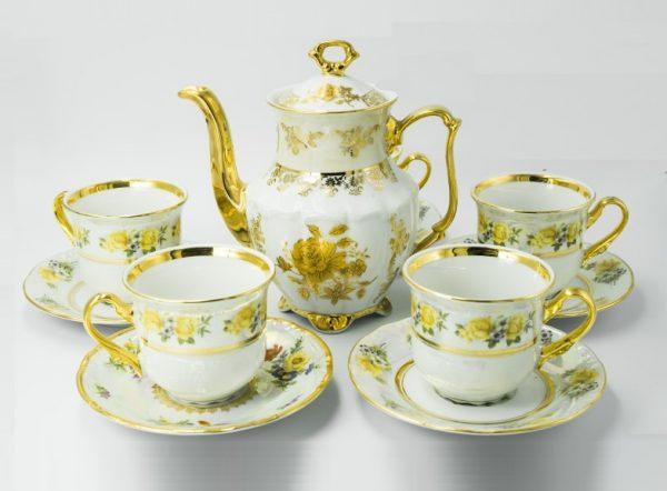 Bộ trà sứ khảm vàng T38