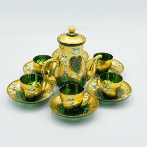 Bộ trà pha lê màu mạ vàng