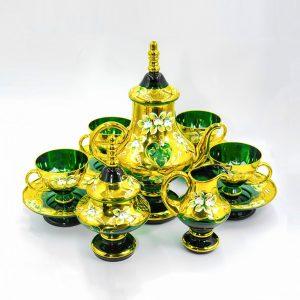 Bộ bình trà pha lê Aldin màu xanh mạ vàng 24K