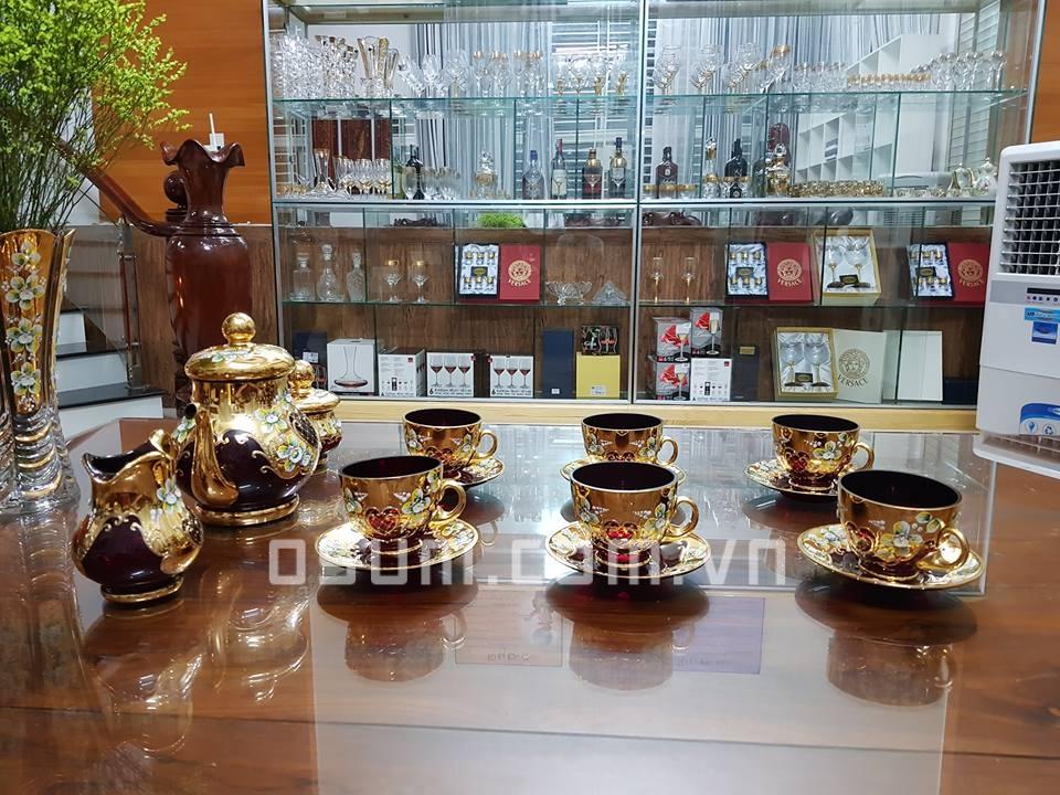 Bộ rượu pha lê đắp nổi nhập khẩu từ Tiệp Khắc