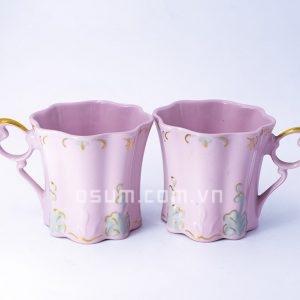 Cốc đôi sứ hồng vệ nữ - BT15